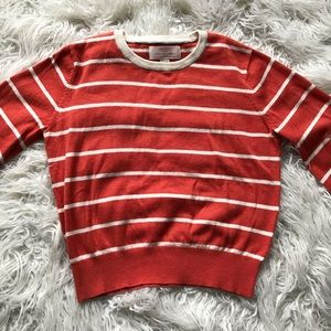 TROVATA ORANGE WHT STRIPED BISHOP SLEEVE SWEATER